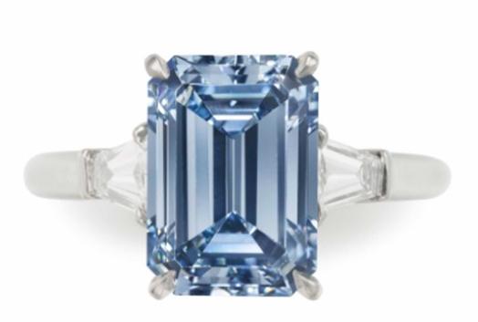 3.09 carat blue diamond ring