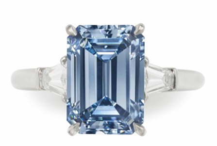 3.09 carat blue diamond ring