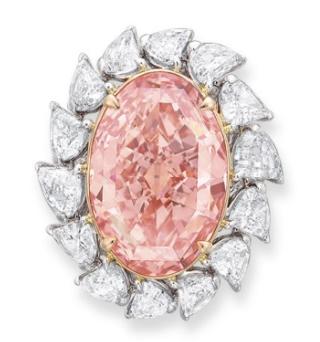 orangey pink diamond ring christies