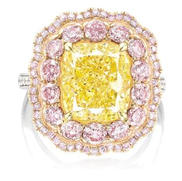 yellow and pink diamond ring